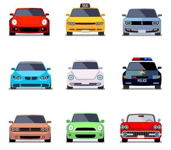 Car Flat Vector Icons In Front View Sport Icons 5 00 Met