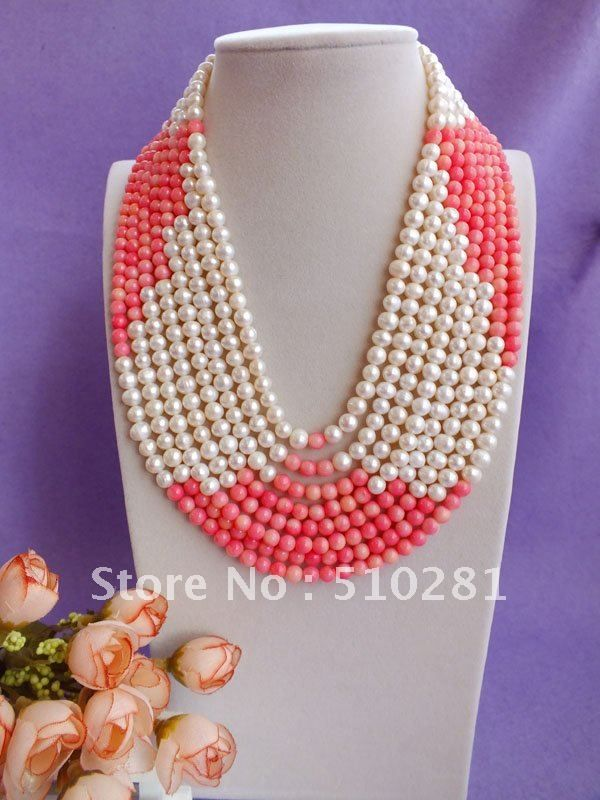 Free ship!!!Luxury Fashion Bridesmaid Bridal Wedding Party Gift Coral jewelry Pearl and pink coral Multistrand Coral Necklace $59.44