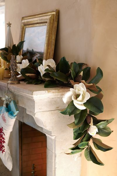 Find Stunning Christmas Decor From Faux Florals Wreaths And Garlands To Gorgeous Topiaries Magnolia Christmas Decor Magnolia Garland Farmhouse Wedding Decor