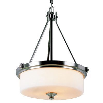 Transglobe lighting young and hip 3 light drum pendant products bel air lighting cabernet collection brushed nickel pendant with white frosted shade mozeypictures Choice Image