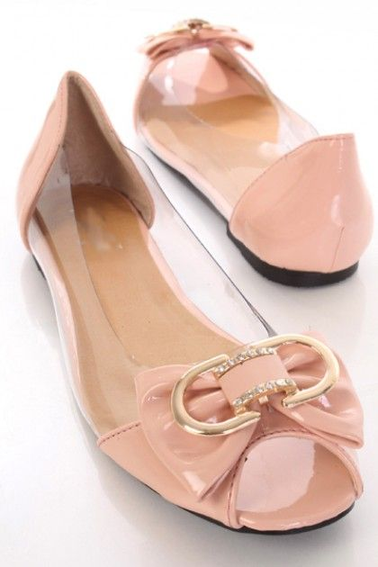 Peach Faux Patent Leather Metal Bow Peeptoe Clear Side Flats / Sexy Clubwear | Party Dresses | Sexy Shoes | Womens Shoes and Clothing | AMI CLubwear