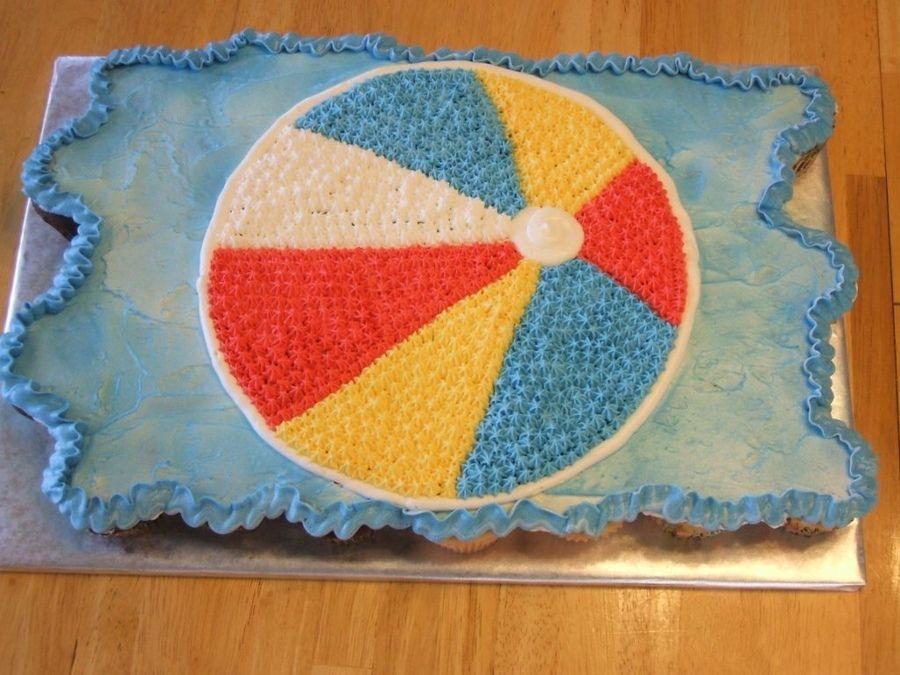 Beach Ball Cupcake Cake With Images Beach Ball Cupcakes Beach