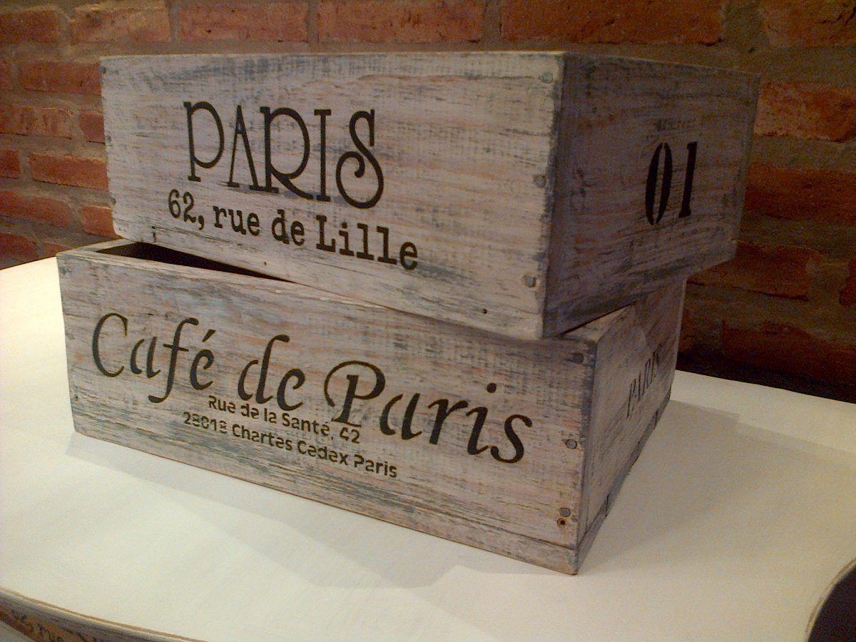 Cajas cajones de maderas recuperadas estilo vintage - Cajones de madera antiguos ...