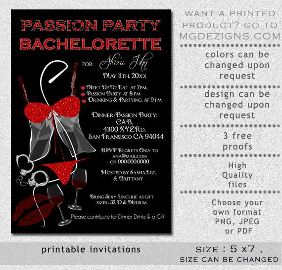 Printable Naughty and Nice Black and Red Glitter Passion Party – Bachelorette Party Invitations Templates