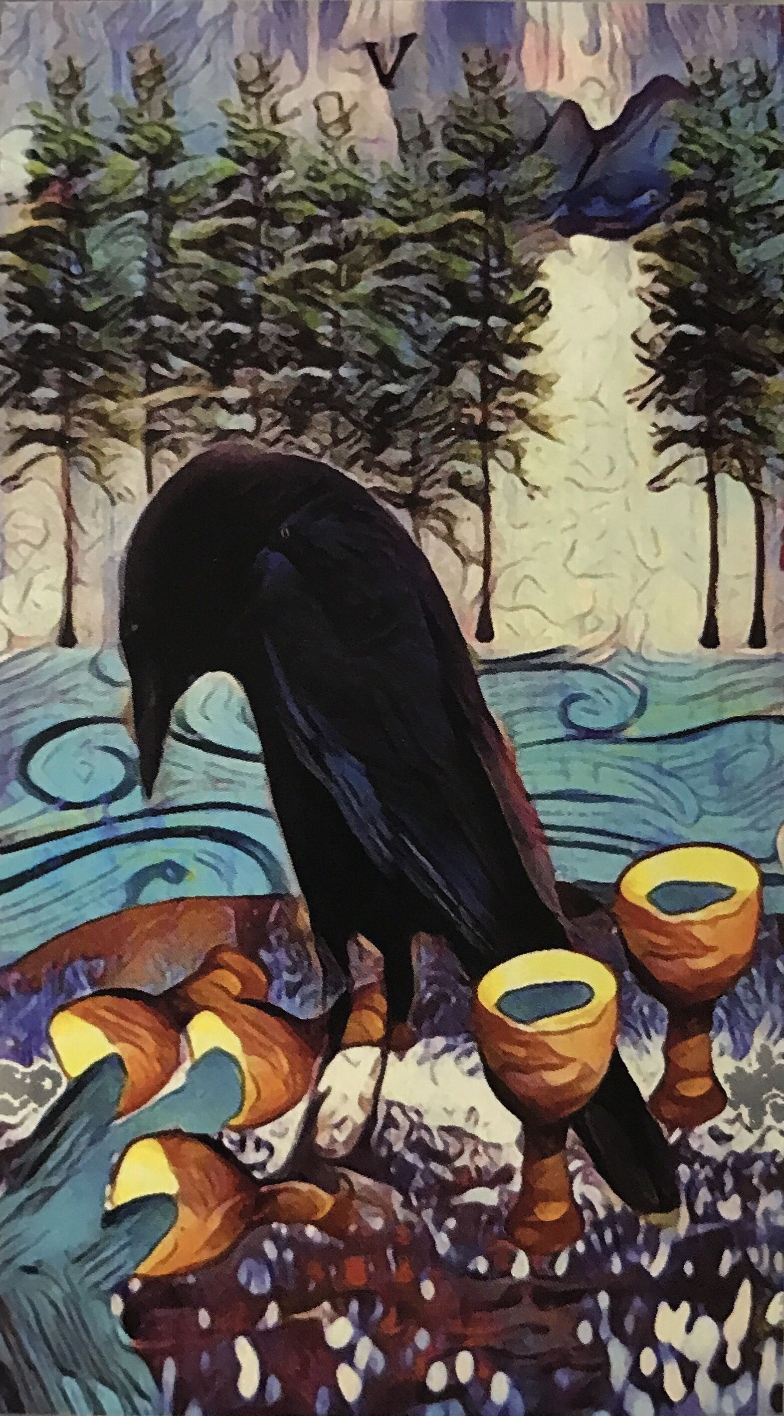Featured card of the day 5 of cups crow tarot by mj
