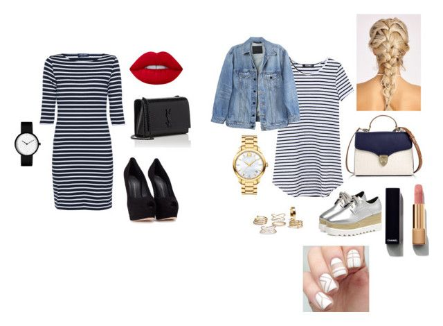 """""""Brother Challenge / Striped Dress"""" by sacha15 on Polyvore featuring Saint James, Giuseppe Zanotti, Aspinal of London, Yves Saint Laurent, Y/Project, Movado, Chanel and Lime Crime"""