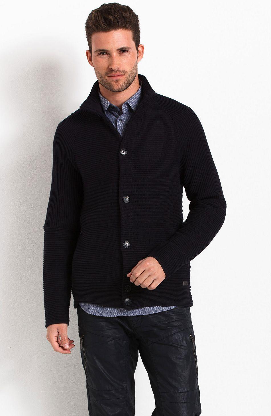 Chevron Stitch Cardigan - Sweaters - Mens - Armani Exchange