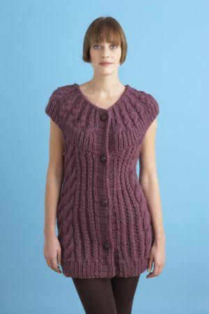 Free Knitting Pattern Circular Yoke Vest Lion Brand Yarn Company