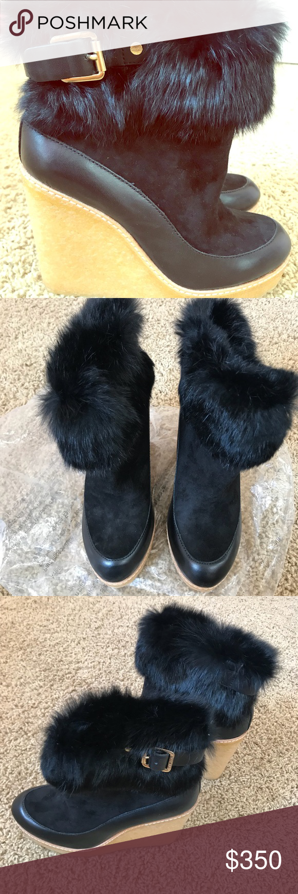 Price new tory burch fox fur wedge booties boutique my