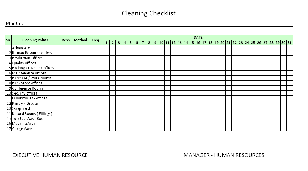 Download doc version (free) download pdf version (free) download the entire collection for … Housekeeping Checklist For Factory Excel