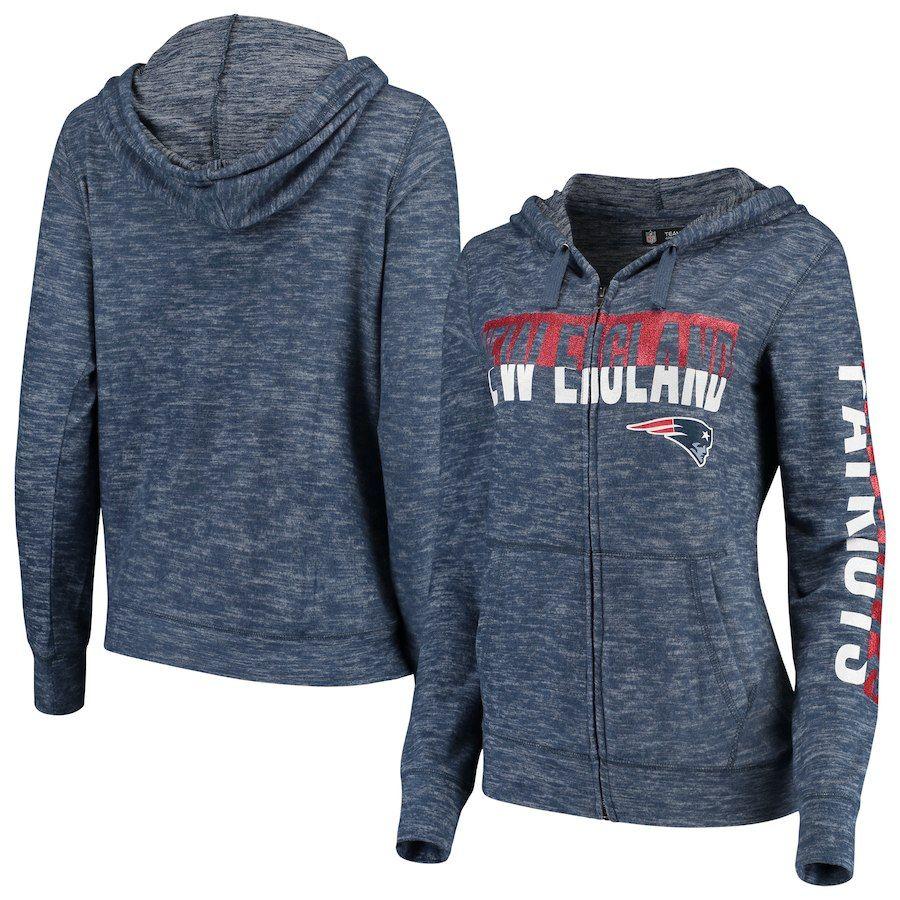 Women S New England Patriots New Era Navy Glitter Sweater Knit Tri Blend Full Zip Hoodie Full Zip Hoodie Hoodies New Era