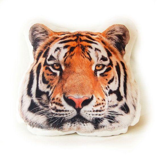 Safari Tiger Pillow  Tiger Head Widlife Animal by CasaCova on Etsy