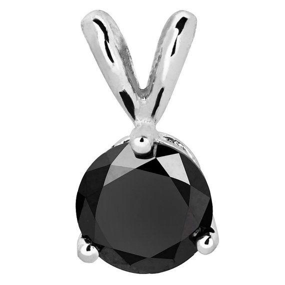 1/2 CTW 3Prong Black Diamond Solitaire Pendant by MajestyDiamonds1, $169.00
