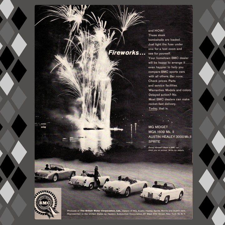1962 MG MGA Midget Austin Healey 3000 Fireworks Vintage Advertisement Print Ad