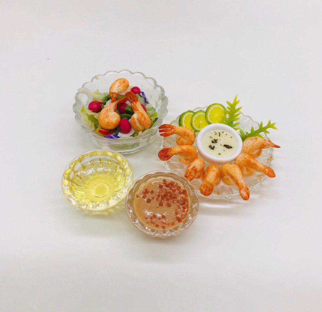 Handmade.1:12th Scale Dolls House Food Set Of Six New Prawns