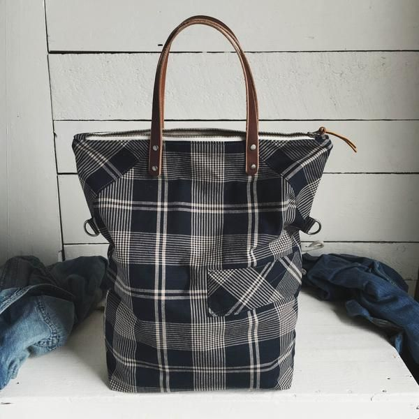 Found this great bag hidden on a shelf in the Forestbound studio! Last bit of this beautiful vintage navy blue plaid that we'll have available.  Sturdy carryall