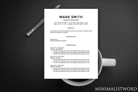 Minimal Resume Template - MS Word by MinimalistWord on