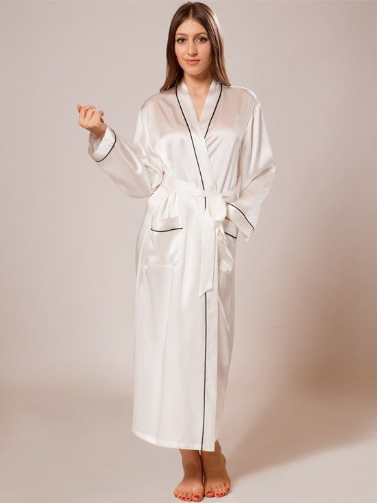 69a95fa6d33e A glamorous and elegant long silk robe featuring a shawl collar, adjustable  belt tie, front patch pockets.