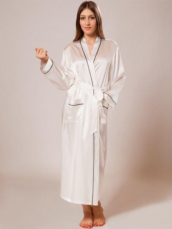A glamorous and elegant long silk robe featuring a shawl collar e58d11c16