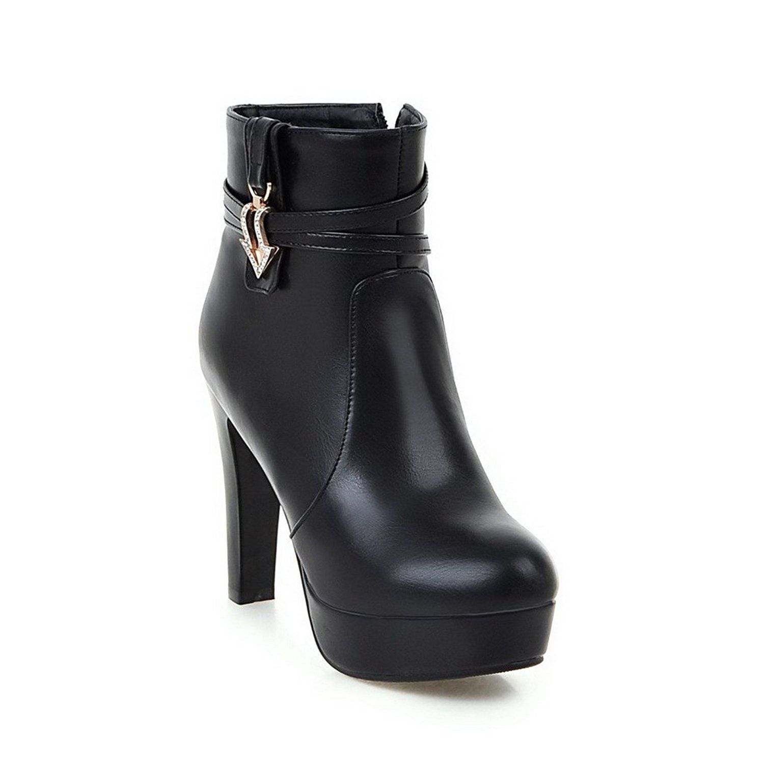Women's Zipper Round Closed Toe High-Heels PU Low-Top Boots With Metal