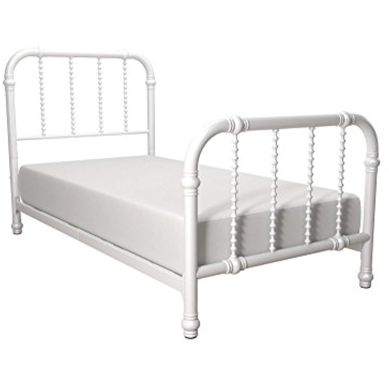 Dhp jenny lind metal bed frame in white with elegant scroll headboard and footboard twin size click on the image for additional details
