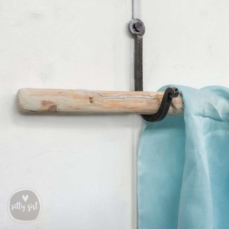 Driftwood Curtain Rods With Wrought Iron Hanger 2 Driftwood