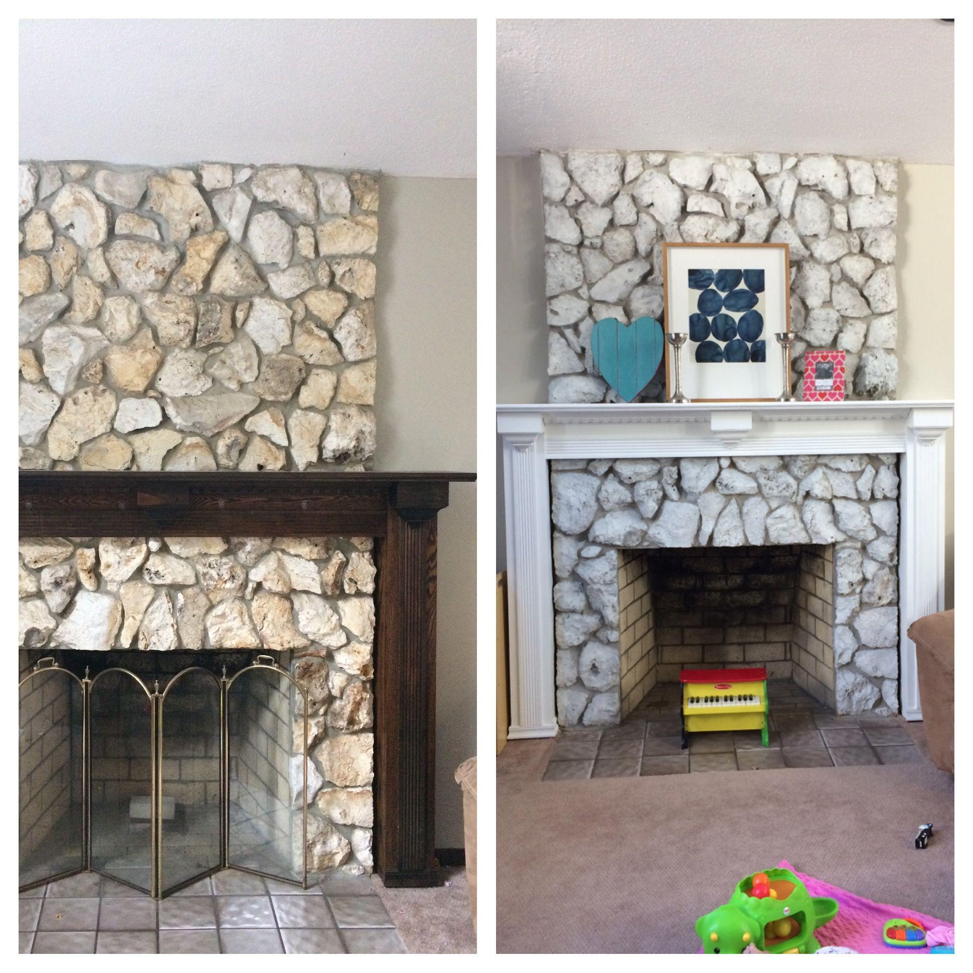 Whitewashed stone fireplace Whitewash stone fireplace