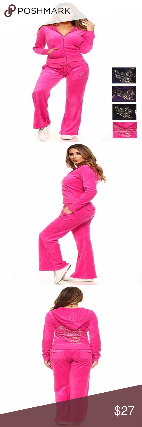 Velour hooded piece set hot pink only jacket a solid velour