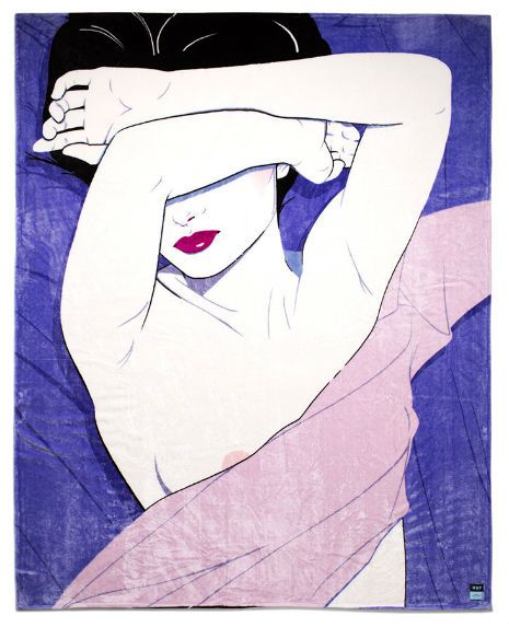 Patrick Nagel faux fur blanket makes a great gift for members of Duran Duran | Dangerous Minds