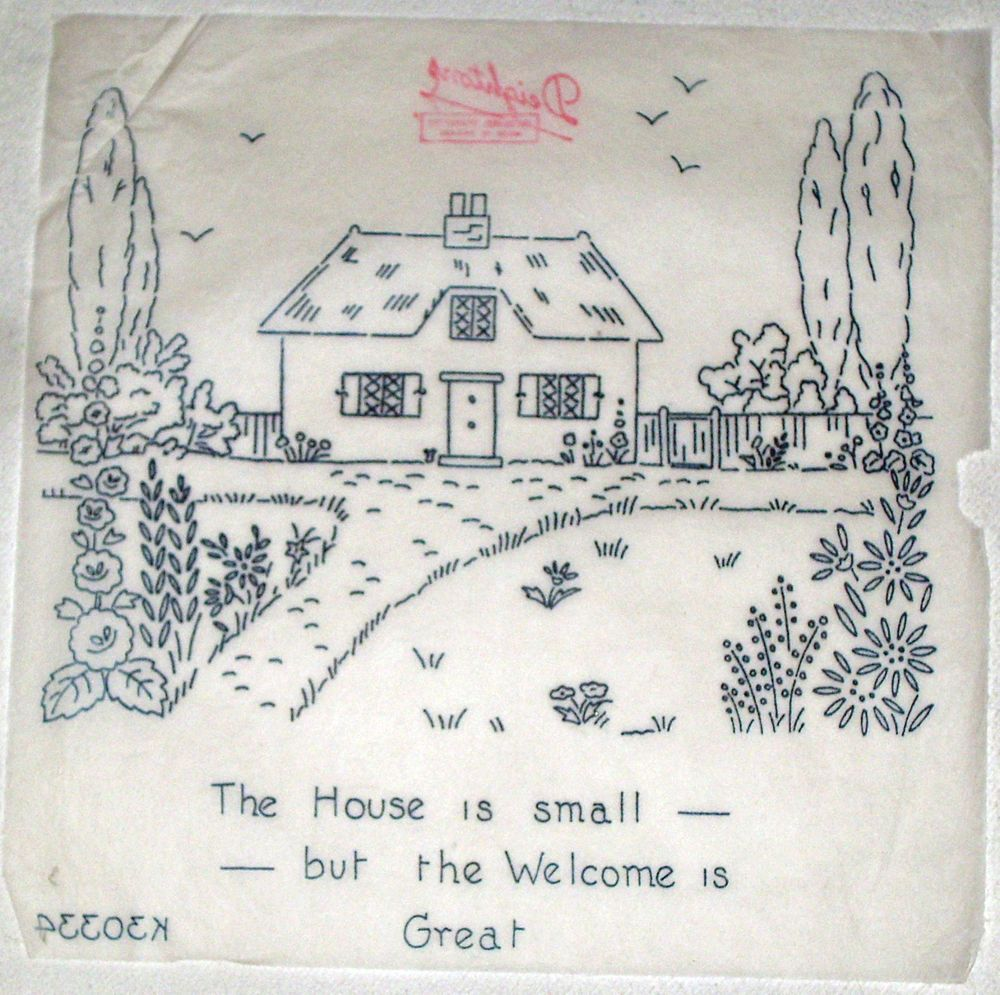 Vintage deighton embroidery transfer thatched cottage with vintage deighton embroidery transfer thatched cottage with welcome motto bankloansurffo Image collections