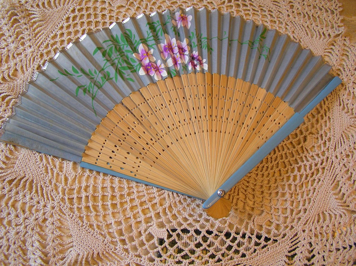 Vintage Blue Fan With Pink & Mauve flowers, Collector's Item by SterlingHeirloom on Etsy