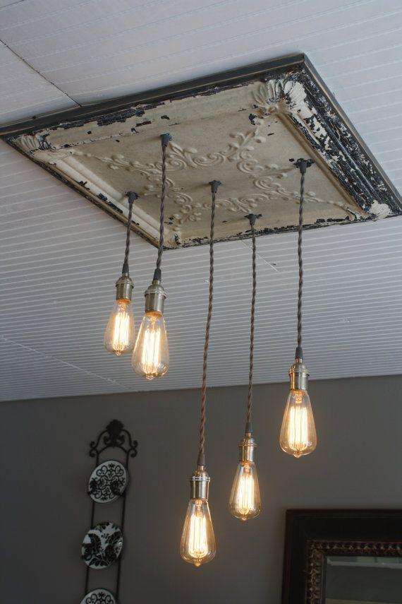 Farmhouse Edison Bulb Light Fixture Antique Tin Tile Chandelier - Antique kitchen lighting ideas
