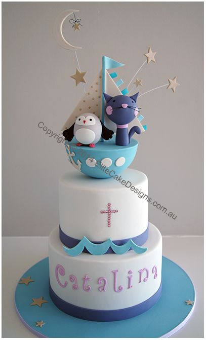 Owl and Cat Sailing under stars boys Christening Cake Bb