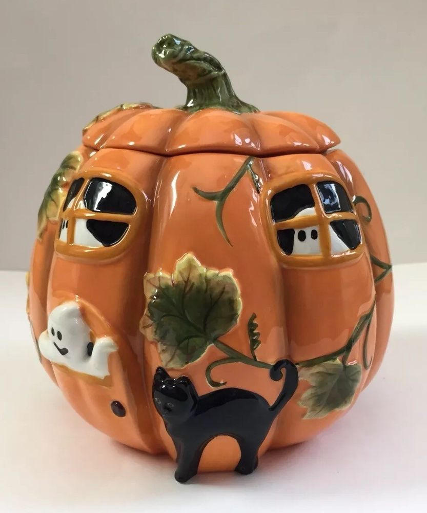 Harry David Haunted House Pumpkin Ghosts Black Cat Ceramic Cookie Jar Ebay Ceramic Cookie Jar Black Cat Cookie Jars