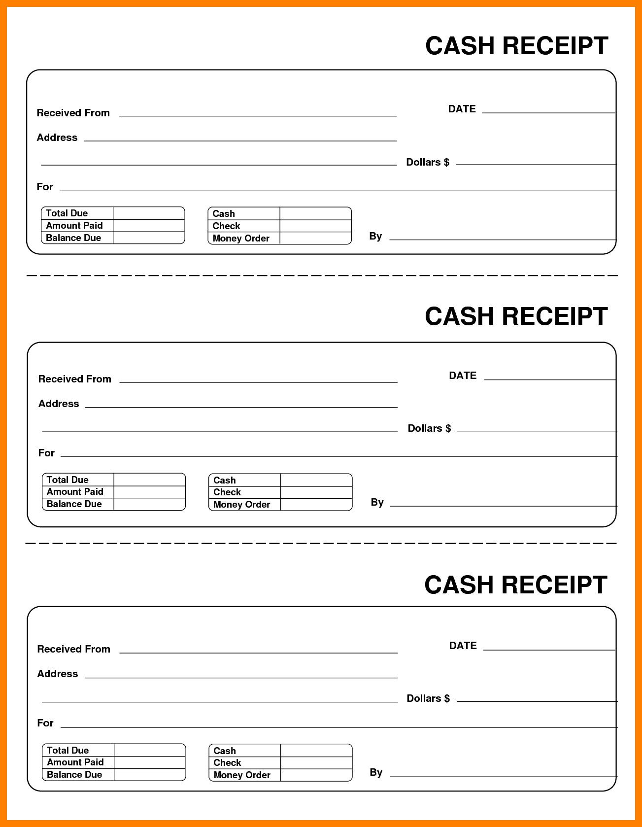 how to fill out a receipt book for cash