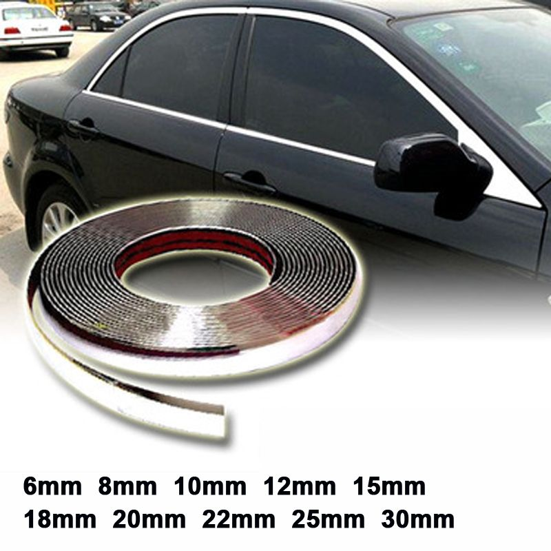 Useful Chrome Self Adhesive Car Detail Edging Styling Moulding Trim Strip 22mm