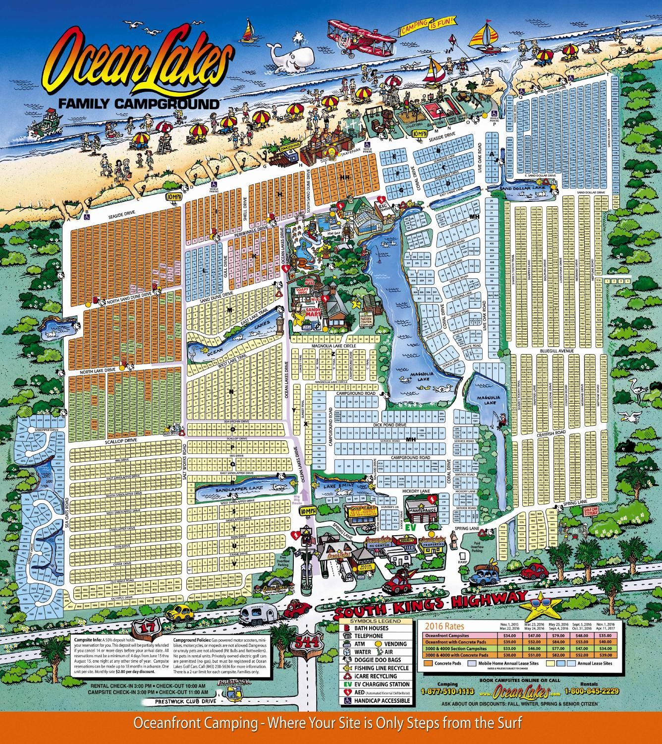 Ocean Lakes Family Campground map Beach camping, Myrtle