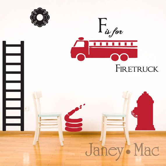 Reserved wall decal firefighter set childrens kids boy bedroom room decor fire truck fire hydrant