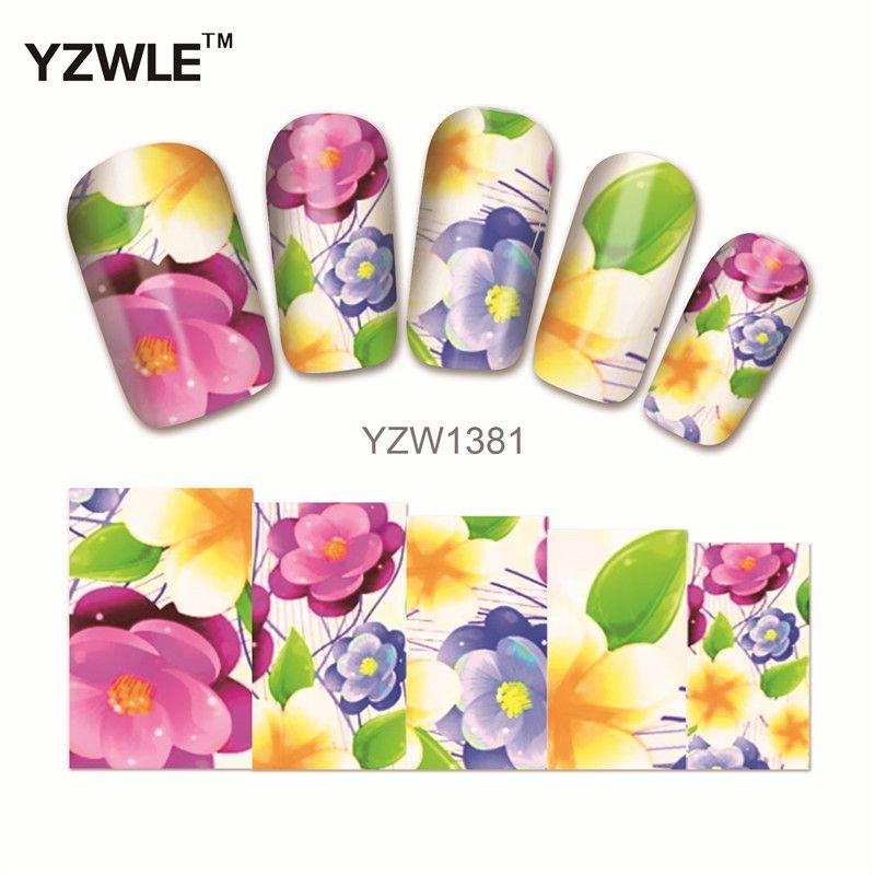 YZWLE 1 Sheet Chic Flower Nail Art Water Decals Transfer Stickers Splendid Water Decals Sticker(YZW-1381)