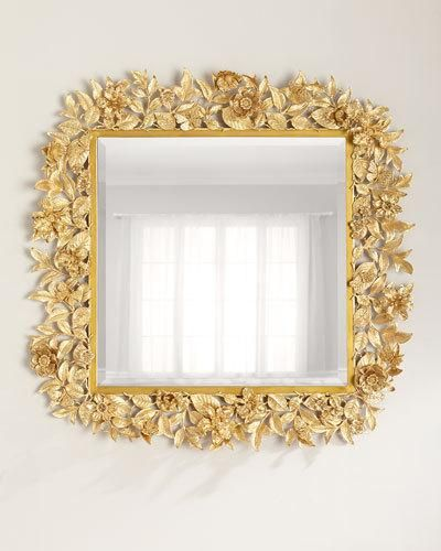 HB3VA Jay Strongwater Composition Floral Leaf Mirror 42Sq