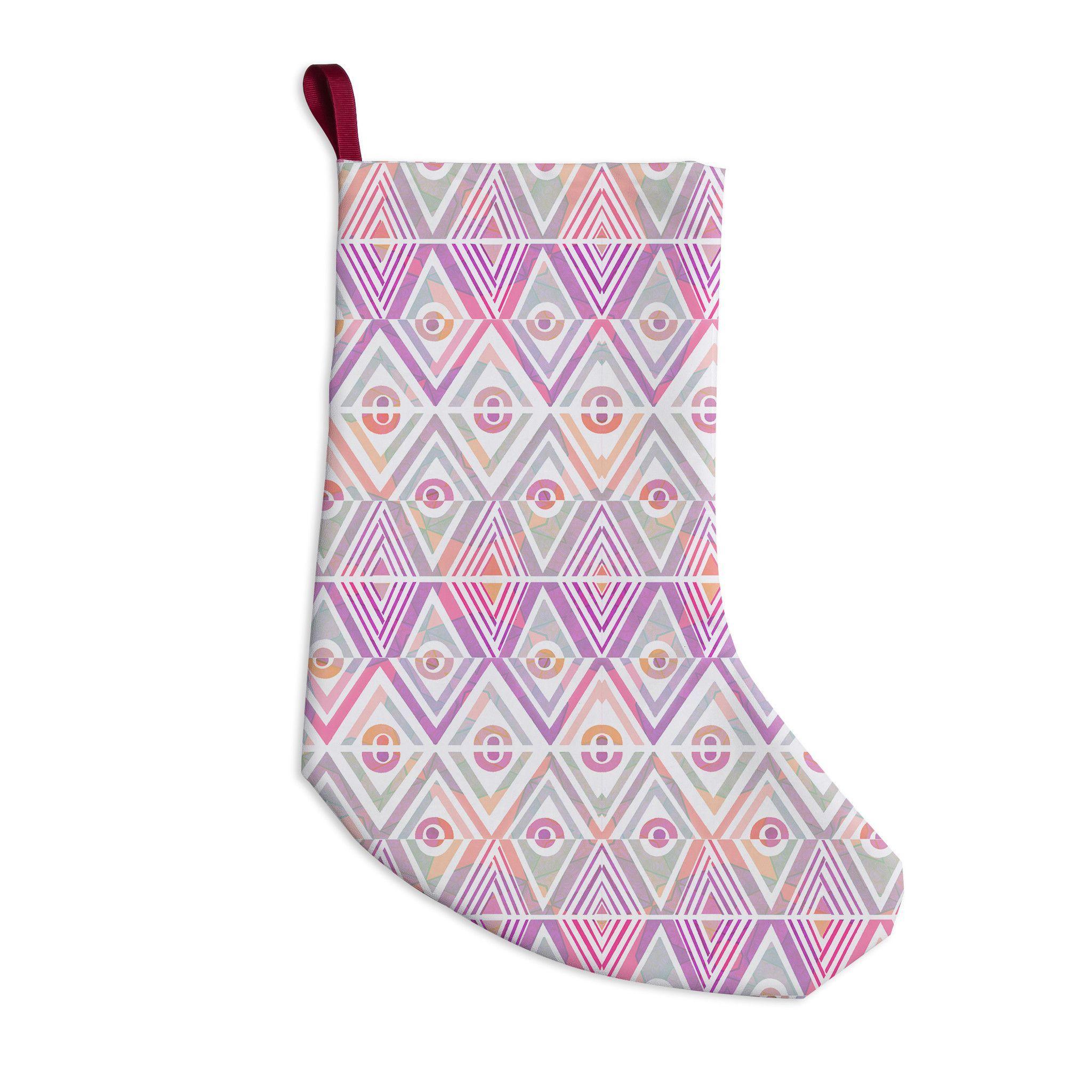 """Pom Graphic Design """"Soft Petal Tribal"""" Christmas Stocking"""