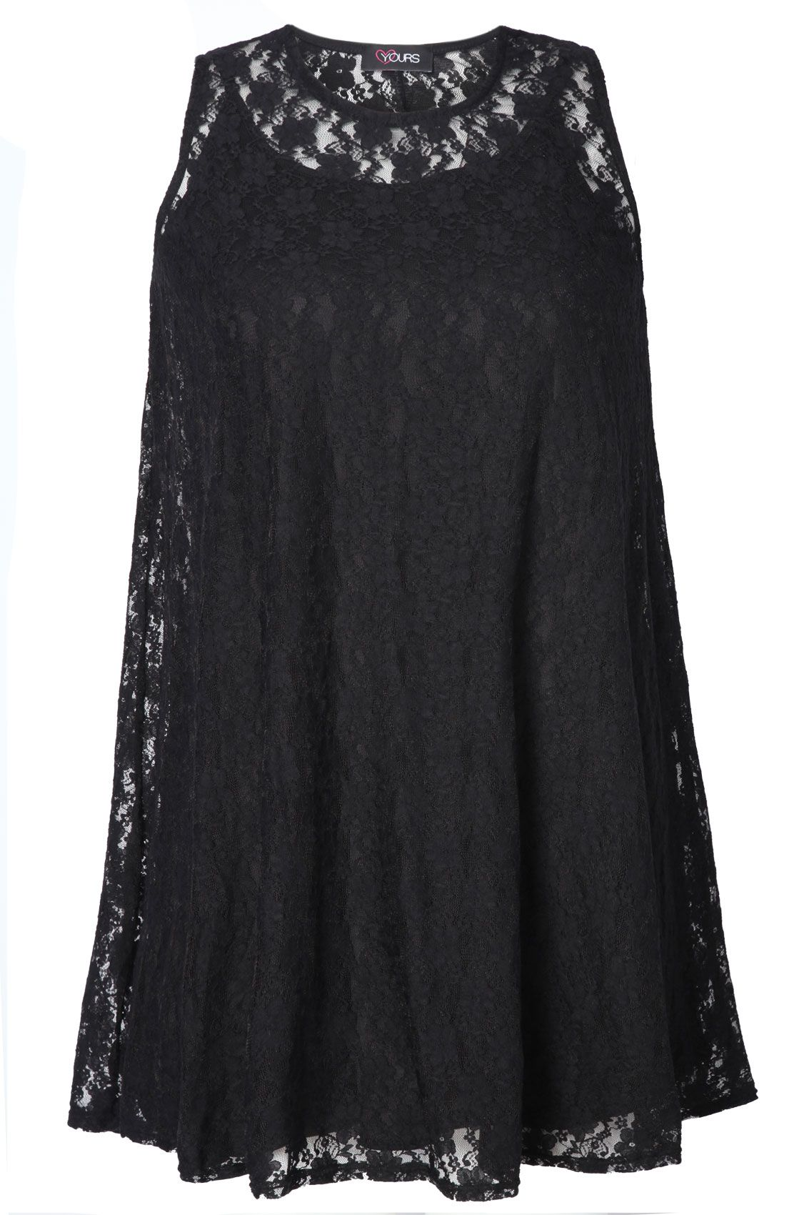 Lace dress for big size  Black Lace sleeveless Tunic With Separate Cami plus size
