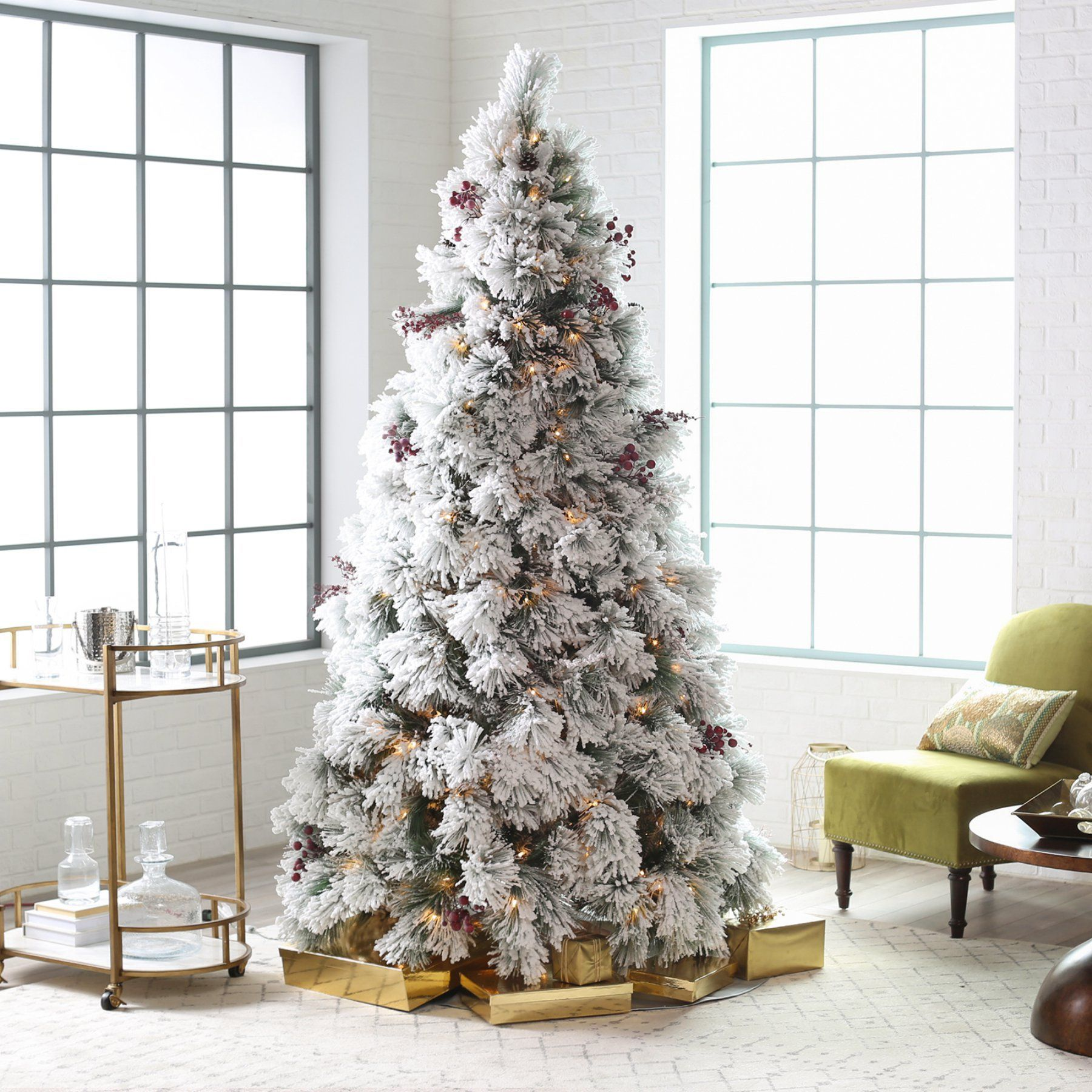 Christmas Tree With Pine Cones And Berries: Belham Living 7.5 Ft. Flocked Pine Needle Pre-Lit