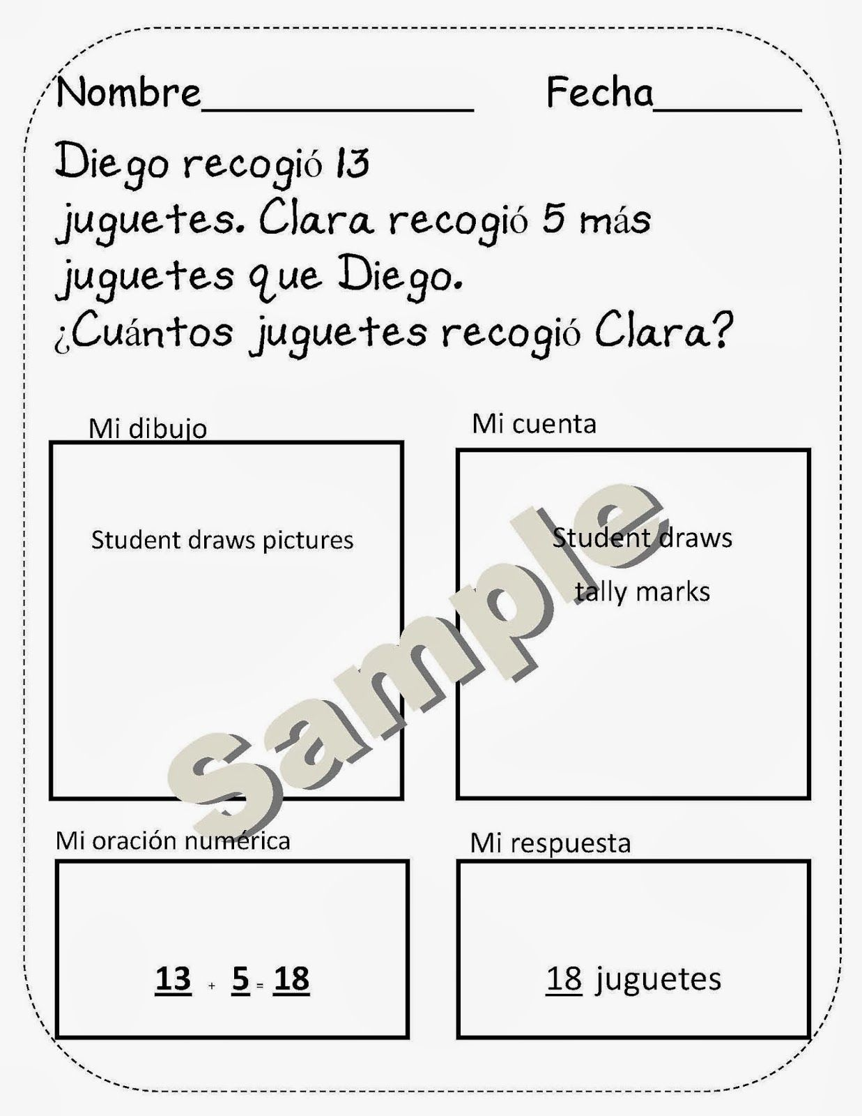Fun Key Dual Language For First Grade Spanish Math Word Problems Math Word Problems Word Problems Math Worksheets