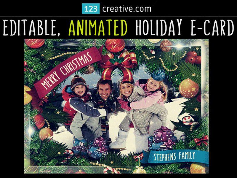▻ ANIMATED CHRISTMAS CARD TEMPLATE GIF - editable Greeting eCard - new year greeting card template