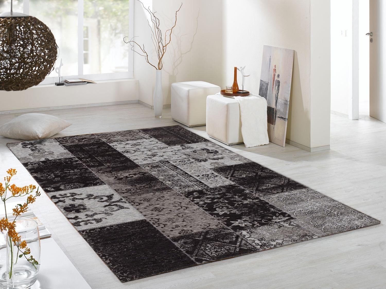 Teppich wohnzimmer ~ Dalliance allover vintage patchwork velour teppich in grau viele