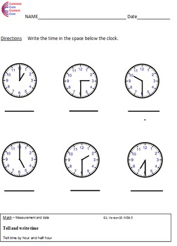 1.MD.3 Time First Grade Common Core Math Worksheets 1.MD.B.3 ...