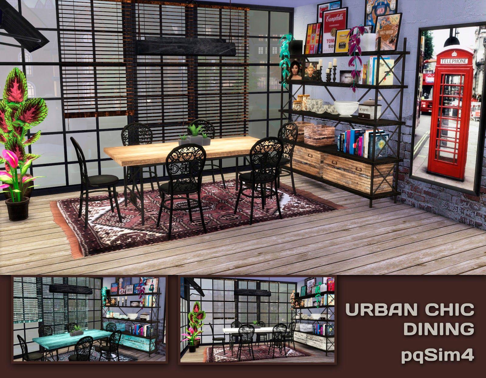 pqsim4 urban chic dining sims 4 custom content sims 4