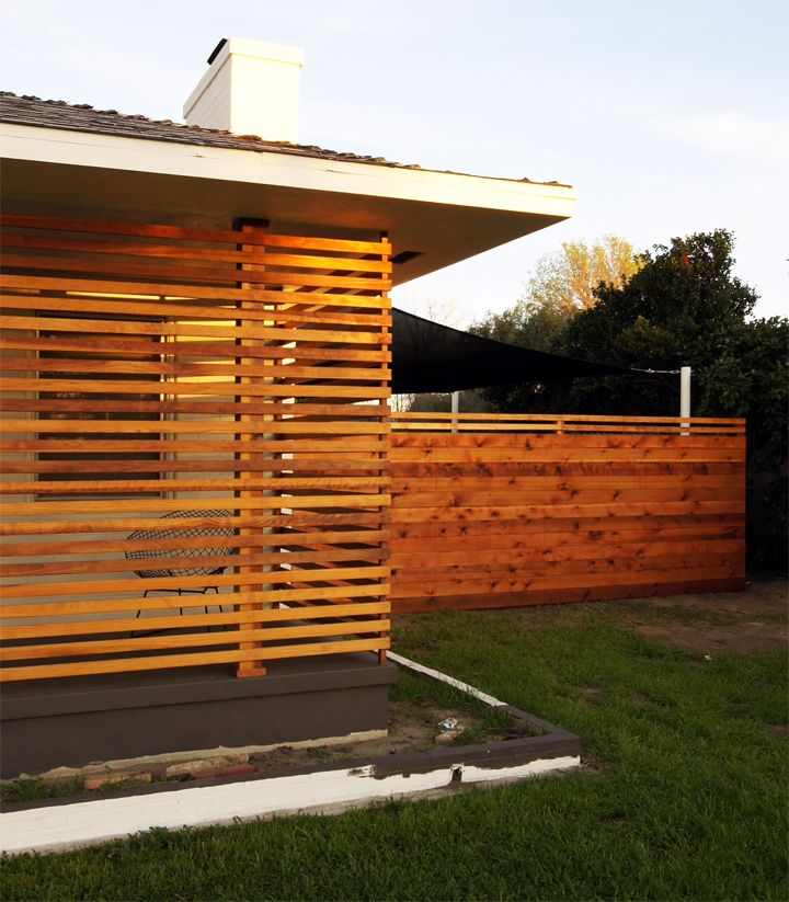slat wall, horizontal fence Backyard fences, Backyard