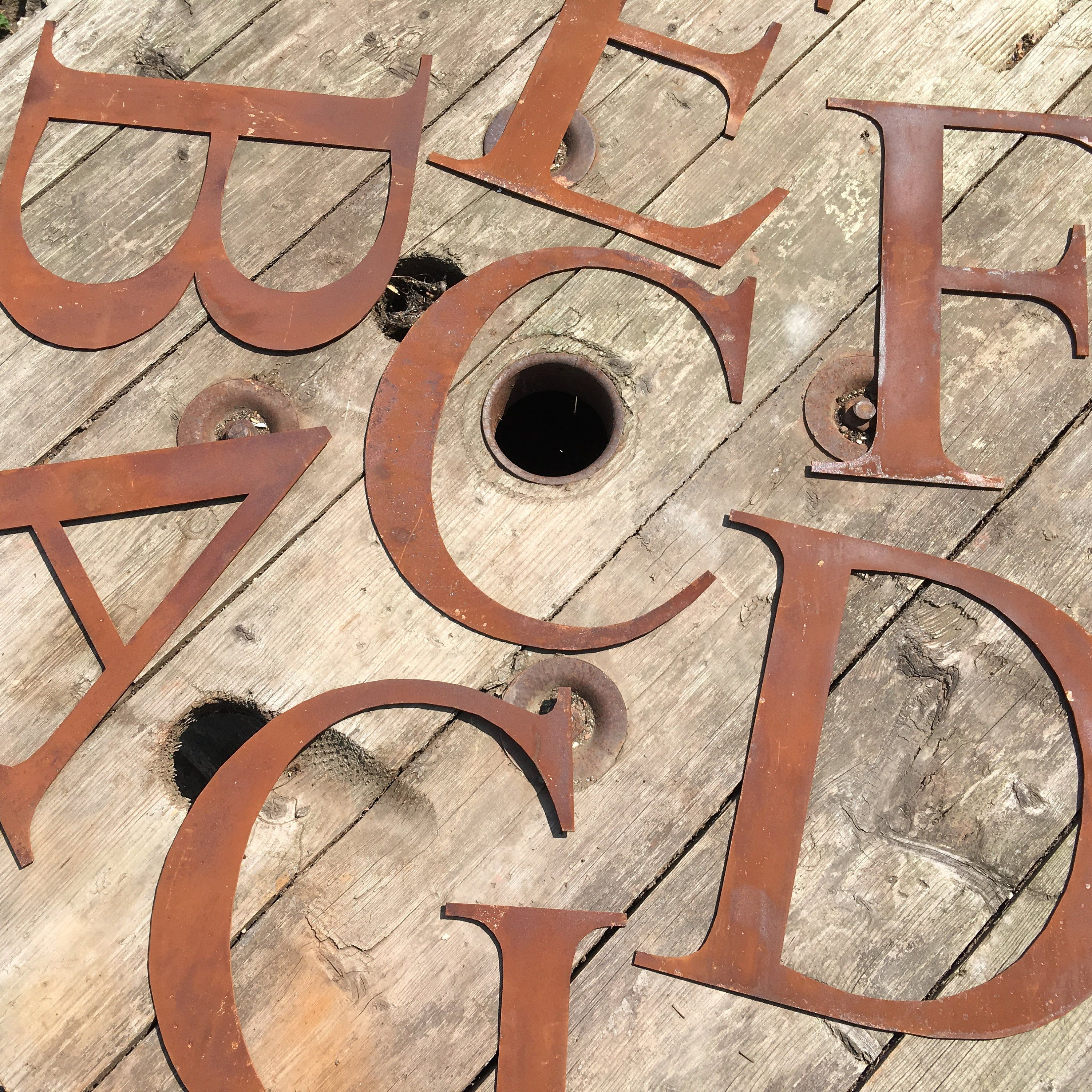 Rusty 5 or 12 thin font metal alphabet letters shop signs, initials, house name, lettering, rusted, industrial, vintage, numbers, garden ,